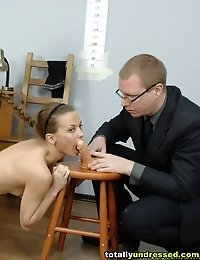 Doggy DP toying of a totally undressed candidate