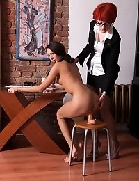 Nude DPed secretary cums by the order
