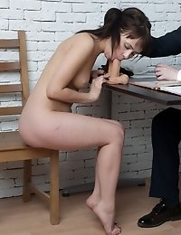 Undressed candidate stuffed by the crazy staff managers