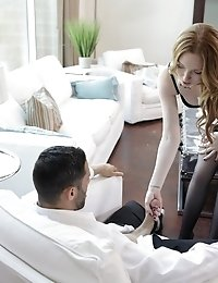 Cock Craving Redhead Katy Kiss Gives Her Man A Long Lusty Blowjob And A Horny Stiffie Ride In Her La