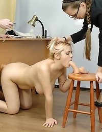 Humiliating sex testing of a huge-titted biz babe