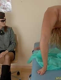 Military babe does nude yoga during a checkup