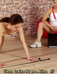 Yoga subby scared enough to cum on a fitball