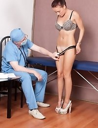 Breasts and genitals examined by a perverted gynecologist