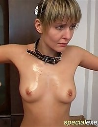Gymnast gets stripped and caresses her boobs