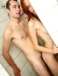 Hot little redheaded teen gets fucked in the shower