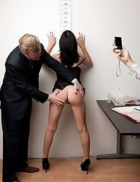 Babe in black strips to nothing at the job exam
