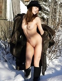 Classy Babe In Sexy Lingerie And High Fur Boots Reveals Her Awesome Body At The Snow-clad Country Ho