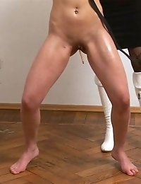 Exhausted with cruel yoga and special masturbation