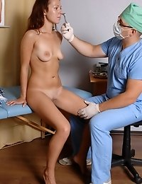 Several naked exercises and thorough pussy exam