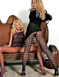 Two blondes Camilla and Sielle demonstrate their fashion pantyhose