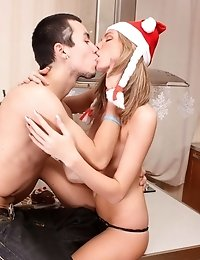 Nasty teen has prepared a hot Christmas present for her boyfriend