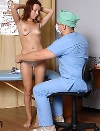 Male doc examines a nude embarrassed babe