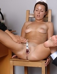 Undressed business girl tested with silicone cocks