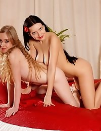 Two Impassioned Beauties Helping Each Other To Satisfy Their Craving For Sex On A Round Bed.