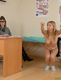 Some nude exercises done at a military checkup