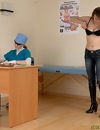 Naked busty miss undergoes a physical exam