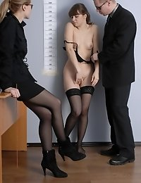 Undressing plaything of two evil HR clerks