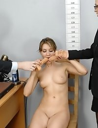 Busty candidate gyno examined and sex toyed