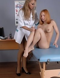 Naughty touches of a lusty lesbian nurse