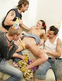 Boozed teeny triple-teamed at her birthday party
