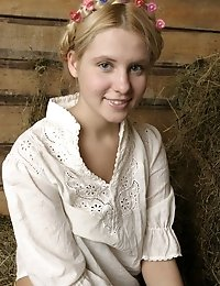 Awesome Country Girl Performs A Splendid Striptease On The Hayloft In The Barn.