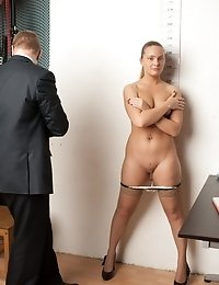 Male headhunters undress a big-assed secretary