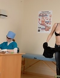 Busty examinee gets checked up in the raw