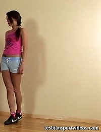Gracile gymnast exercised in kinky sports