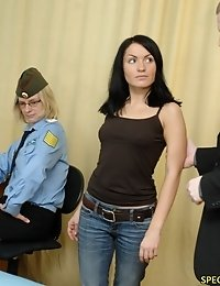 Customs perverts examine and toy-stuff a babe