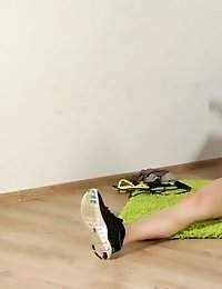 Amateur dressed and nude exercising and pussy play