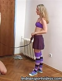 Tall gymnast subdued and fucked by a petite lesbian