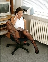 Office lady in patterned pantyhose