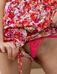 Pale Teenager Has Stripped Everything To Her Panties And She Is Now Having Fun With Her Sweet Tits A