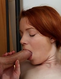 Pigtailed Redhead Teen Cutie Enjoys The Taste Of Some Big Male Rod As She Bends To Suck It.