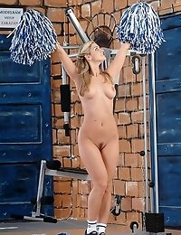 Naughty cheerleader Monique gets absolutely nude
