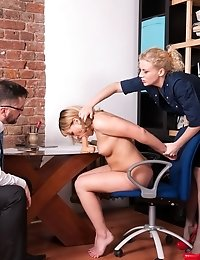 Horny staff clerks interview a girl with sex toys