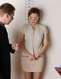 Test secretary undressing and sucking two dildos