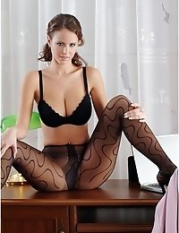 Leggy lady posing on table