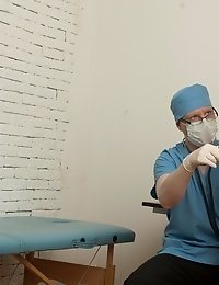 Pussy inspection with a few medical BDSM details