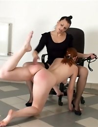 Merciless coach punishes her lazy redhead trainee