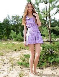 Amazing Long Haired Teen Honey With A Slender Figure Taking Off Clothes And Posing Naked.