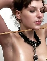 Collared juggy gymnast and her crazy les coach