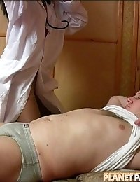 Nurse in tan pantyhose getting fucked by patient
