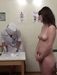 Naked examinee passing a few health tests