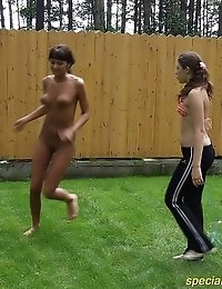 Naked gymnast exercising in her coach's backyard