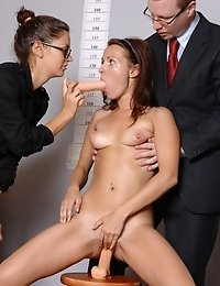 Confusing orgasm of a toy-fucked job candidate