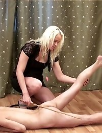 Submissive yoga girl and her cruel fem trainer