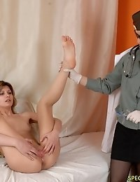 Military lady doctor inspects the tight holes