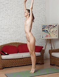 Naked yoga cutie working hard at home